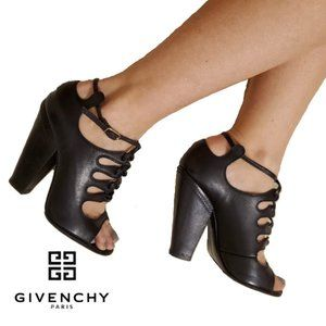 Givenchy Black Leather Peep Toe Lace Up Booties